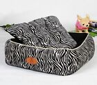 New Luxurious Zebra-stripe Pet Dog Cat Soft Bed House Kennel Easy Wash Size S,M