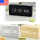 Wooden Digital Display Desk LED Alarm Clock Sound Temperature Alarm Home Decor