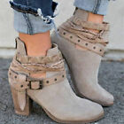 Women's Suede Ankle Boots Leather Retro Metal Buckle Belt Ro
