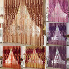 Sybaritic Jacquard Window Curtains Burnout Tulle for Living Room Bedroom Door US