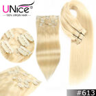 """8Pcs 18""""20"""" 22""""24'' Clip In Remy Real 100% Human Hair Extensions Full Head UNice"""
