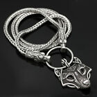 Stainless Steel Viking Wolf Head With Thor's Hammer Bear Wolf Pendant NECKLACE photo