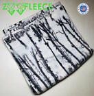 "ZooFleece Birch Trees Snow White Camo Hunting 60X60"" Linen Blanket Throw Quilt  image"