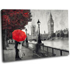 Romantic London Cityscape Big Ben Oil Painting Style Red Canvas Wall Art Print