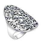 Silver Ring 925 Sterling Women Hollow Out National Wind Restoring Ancient Ways
