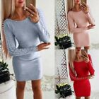 Uk Womens Pearl Pullover Long Sleeve Jumper Dress Ladies Solid Casual Slim Tops