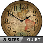 Vincenzo World Map Clock, large wall clock, Ultra Quiet, 8 sizes, Life Warranty
