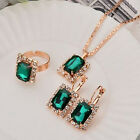 Womens Crystal Square Drop Pendant Necklace Earrings Ring Set Wedding Jewellery