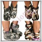 100% Sheep Wool Boots Cozy Foot Sheepskin Slippers Women's Men's Size 3-12 UK