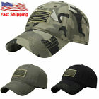 Men American Sports Tonal Flag Patch Embroidery Curved Cap Baseball Army Hat