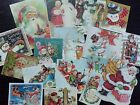 bb36 Lot of 17 Adorable VINTAGE CHRISTMAS GREETING DIE CUTS 4 crafts making