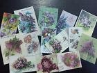 BB15B -- Lot of 14 Vintage Purple Panises and Lilacs DIE CUTS for CARD MAKING