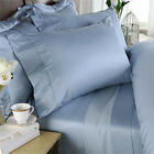 DUVET SET + FITTED SHEET BLUE SOLID PREMIUM BEDDING ALL SIZES 1000 TC EGY COTTON image