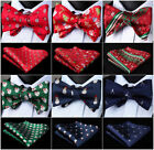 Novelty Christmas Mens Bowtie 100% Silk Butterfly Self Bow Tie Pocket Square Set
