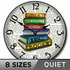 Library Wall Clock, Whisper quiet, Comes in 8 sizes