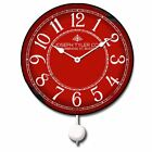 Red & White Pendulum Whisper Quiet , Non ticking  Wall Clock Home Decor