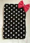 BABY TRAVEL CHANGING MAT BLACK WHITE DOTTY COTTON WATER PROOF PINK PADDED BOW