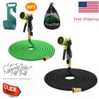 50 100 Feet Expandable Flexible Garden Water Hose w/ Spray Nozzle retractable