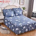 Bed Skirts Blue Pink Navy Printed Cotton Double Mattress Sheet Soft Protector