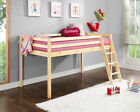 Kids Cabin Bed Mid Sleeper with Play Tent Ladder Wooden Bunk Bed and Mattress