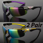 2 Pair Men Polarized Sunglasses Sport Wrap Around Mirror Driving Eyewear Glasses