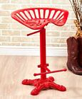 Tractor Seat Bar Stool Rustic Cast Iron Metal Adjustable Height Black Pewter Red