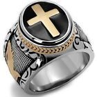 7-15 Vintage Silver Gold Two-Tone Holy Cross Signet Ring Prayer Christian Jesus