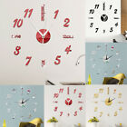 Modern Large 3D Mirror Surface Wall Clock Sticker Home Office Room DIY Clock
