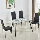 Tempered Glass Dining Table Set and 4/6 Faux Leather Chairs Kitchen Furniture <br/> Black✔High Strength✔Rectangle Table✔Heat-resistant✔