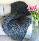 Merino wool chunky knit blanket Super Giant hand Knitted Throw Christmas gift image