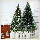 5/6/7/8ft Artificial Tall Spruce Folding Christmas Tree Snow Tipped Red Berry