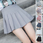 Womens Plaid Pleated High Waist Flared Short Mini Skirt Skort School Girl XS-2XL