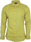 Run & Fly Mens Peacock Print Long Sleeved Shirt 60s 70s Geometric Psychedelic