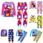 2pcs Kids Boys Girls Long Pyjamas Set Baby Shark Nightwear T-shirt Pants Outfit