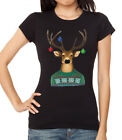 New Junior's Reindeer Christmas Sweater Black T Shirt Women's Ugly Sweater Santa