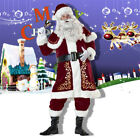 8 PCS Christmas Santa Claus Suit Fancy Cosplay Costume Xmas Party Outfit Dress