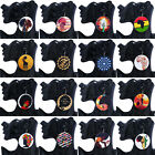 Women African Natural Round Wood Printed Earrings Hook Lady Fashion New 1 Pair