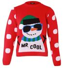 New Kids Boys Knitted Mr Cool Snowman Xmas Sweater Christmas Day Jumper Grey Red