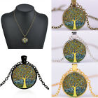 Living Time Tree Of Life Bronze Gold Silver Round Glass Chain Pendant Necklaces