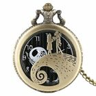 Nightmare Before Christmas Jack Skellington Tim Burton Black Quartz Pocket Watch
