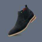 Men's Casual Cap Toe Dress Leather Chelsea Suede Slip on Pull Ankle Boots Shoes