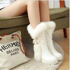 Women's winter buckle low-heeled snow boots medium-leg thermal sleeve shoes