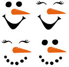 6 / 10 Snowman Snowlady Faces Vinyl Decal Stickers Christmas Kids Water Bottle