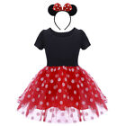 Minnie Mouse Costume Kids Girls Fancy Dress Ears Headband Outfit Xmas Clothes