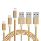3 x 3ft. Nylon Braided Lightning USB Cable Cord Charger For Apple iPhones iPads
