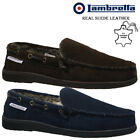 MENS LAMBRETTA MOCCASINS SLIPPERS LOAFERS SUEDE SHEEPSKIN FUR WINTER SHOES SIZE