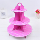 3 Tiers Cupcake Stand White Dots Food Platter Round Display Party Xmas Festive