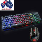 Rainbow Backlight Llluminated Gaming Keyboard Mouse Wired Usb For Pc Laptop Game