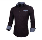 Slim Fit Mens Doublju Cotton Flannel Long Sleeve Button Down Shirts Fashion