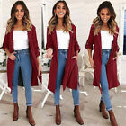 Womens Trench Coat Cardigan Long Jacket Outwear Parka Overcoat Spring Lapel Tops